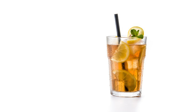 Iced tea drink in glass isolated on white background copy space