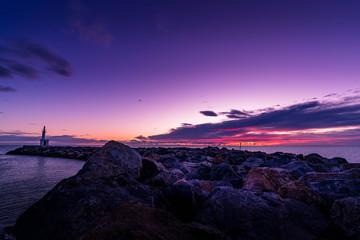 Photo sur Toile Prune Jetée mer le barcares soleil levant