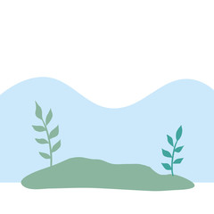 Foto op Canvas Lichtblauw natural landscape scene isolated icon vector illustration design