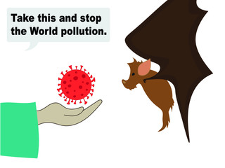 """A cartoon of Covid-19 (Coronavirus) God's words against progress and disrespect of Nature """"Take this and stop the World pollution."""""""