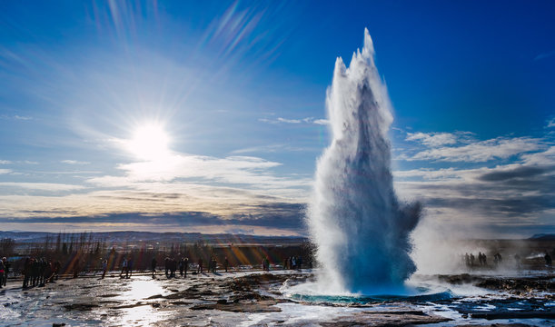 Geyser in sunny winter day in Iceland.