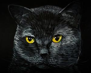 Photo sur Toile Croquis dessinés à la main des animaux Art painting Acrylic color Smiling cute cat from Thailand