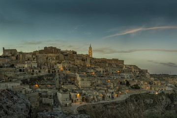 Wall Mural - Ancient town of Matera, Sassi di Matera at night, Basilicata, southern Italy