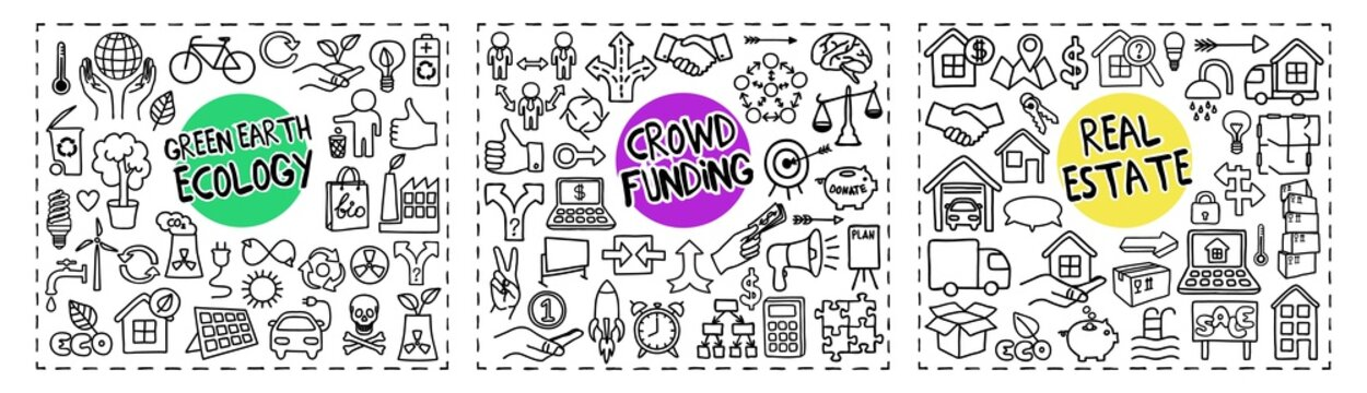 Green Earth Ecology, Crowd Funding and Real Estate doodle icons set