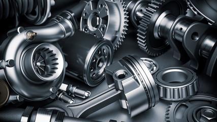 Car engine parts. Closeup 3d