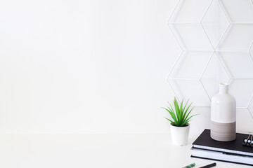 White desk by a white empty wall. Geometric pattern. Copy space. Office supplies, book, notebook and succulent. White-gray vase.