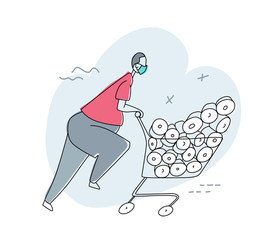 A man in a panic buys all the toilet paper rolls, runs with a cart in a supermarket. A person wears protective mask. Consequences of the COVID-19 virus. Vector cartoon colored contour illustration.
