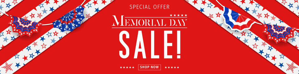 Banner for Memorial day sale design. Memorial day sign on a dark blue background with 3d percent symbol. Vector illustration for business promotion. Fotomurales