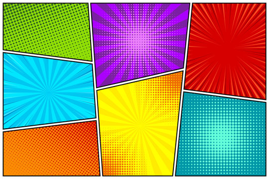 Cartoon comic backgrounds set. Comics book colorful poster with halftone elements. Retro Pop Art style. Vector illustration.