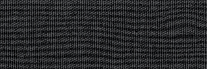 Fotobehang Macrofotografie Closeup texture of natural weave cloth in dark gray or black color. Fabric texture of natural cotton or linen textile material. Wide and long panoramic background.