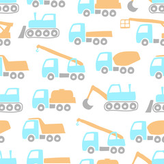 Different cartoon construction equipment isolated on white background. Side view. Baby seamless pattern. Vector hand graphic illustration. Texture.