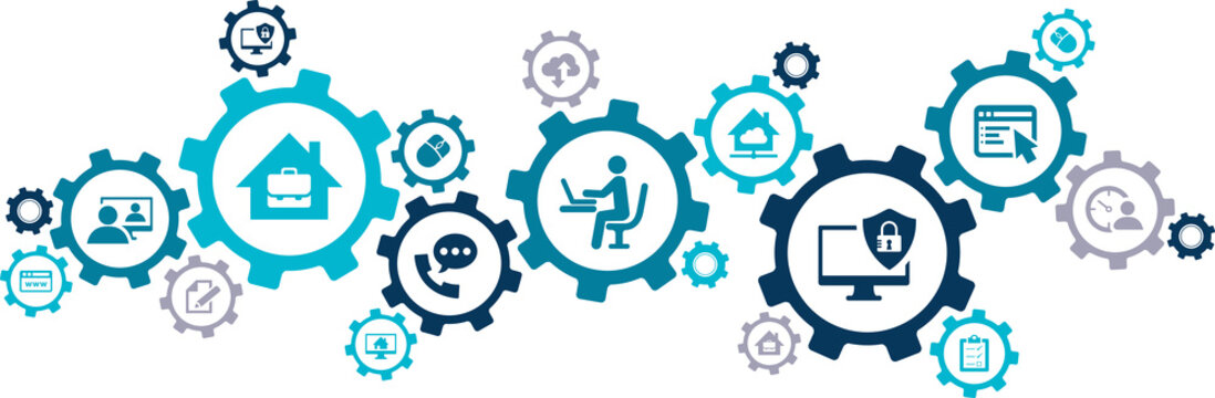 Home office vector illustration. Concept with connected icons related to homeoffice technology, freelance business, working from home