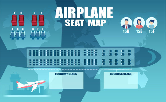 Vector of an airplane seat chart, plan of passenger seats