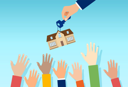 Vector of a real estate salesman with house key offering property for sale to a crowd of interested people
