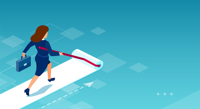 Vector of a business woman painting her own career path