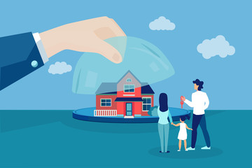 Vector of a family looking at a new house offered by real estate agent