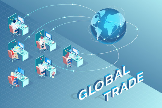 Vector of International group of people communicating globally trading worldwide