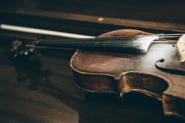 Old Violin music instrument of orchestra closeup