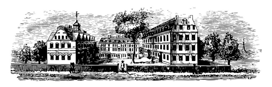 Harvard College or liberal arts college of Harvard University, vintage engraving.
