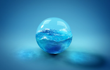 Beautiful background with a ball of water, sea and ocean. 3d illustration, 3d rendering.
