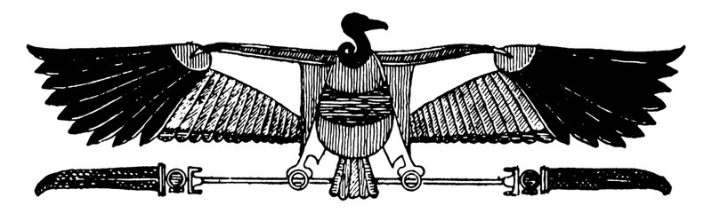 Vulture with Plumes from the ceiling of a hypostyle hall, vintage engraving. Fotomurales