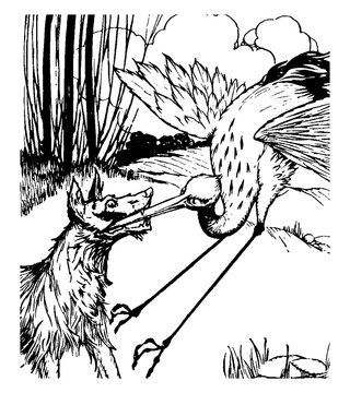 Aesop, The Wolf and the Crane, vintage illustration