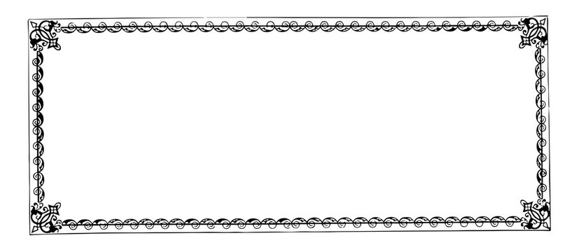 Filigree banner is a double line and waves border, vintage engraving.