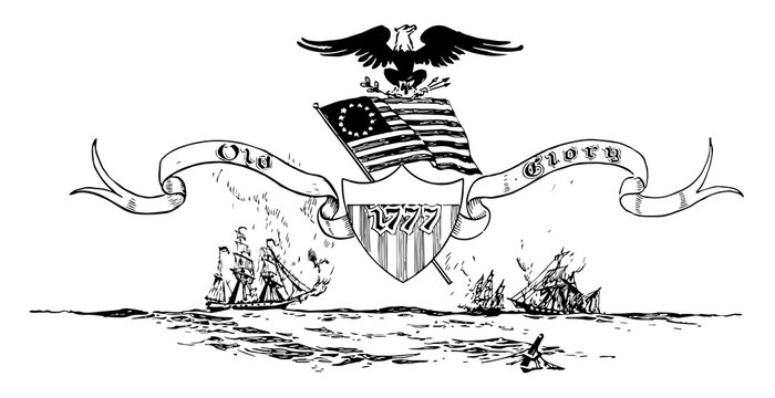The 13-star Betsy Ross flag of the United States of America, vintage illustration