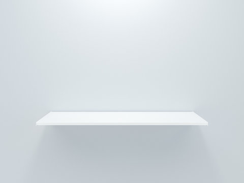 White grocery retail shelf isolated on gray background design template for mock up. 3d rendering design for display product object in supermarket