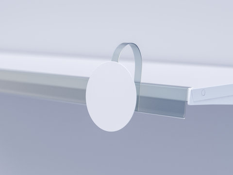 3D image close up view of grocery retail wobbler in focus on the shelf with shelf talker