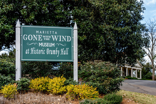 Marietta, Georgia, USA - January 17, 2020: Sign outside Gone With the Wind Museum at Brumby Hall in Marietta, Georgia, USA, a Museum celebrating the Margaret Mitchell novel & film.