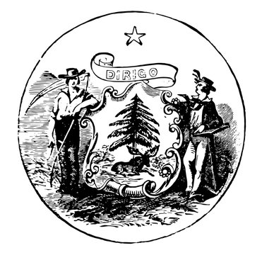 The official seal of the U.S. state of Maine in 1889, vintage illustration