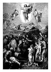 The Transfiguration is a event reported by the Synoptic Gospels, vintage engraving.