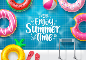 Summer time vector banner design. Enjoy summer text in top view swimming pool background with colorful floating summer elements like floaters and beach ball for holiday summer vacation. Vector