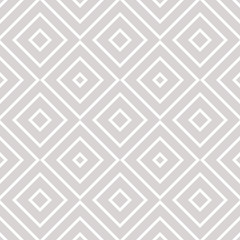 Vector geometric seamless pattern with squares, diamonds, rhombuses, grid, lattice. Abstract white and gray graphic ornament. Modern linear background. Subtle elegant texture. Delicate repeat design