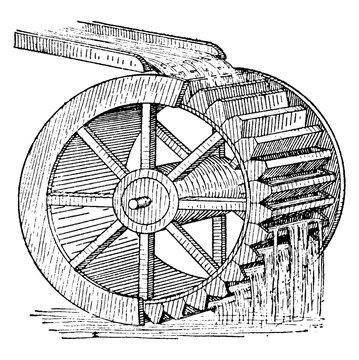 Water Wheel, vintage illustration