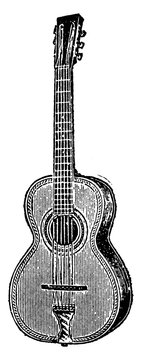 Guitar, vintage illustration