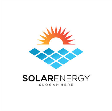 Sun solar energy logo design template. solar tech logo designs, Idea logo design inspiration