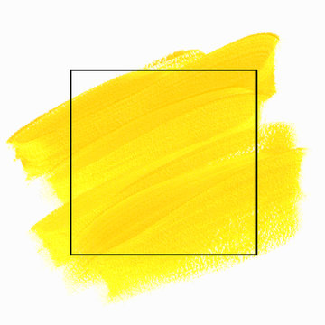 Art yellow paint abstract background. Brush stroke texture design poster vector over square frame. Perfect watercolor design for headline, logo and sale banner.