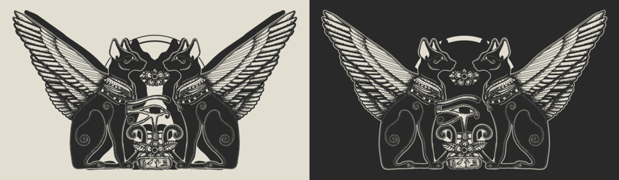 Ancient Egypt. Two winged black cats, sacred eye of god Horus and star gate. Egyptian art. Template for clothes, covers, emblems, stickers, poster and t-shirt design