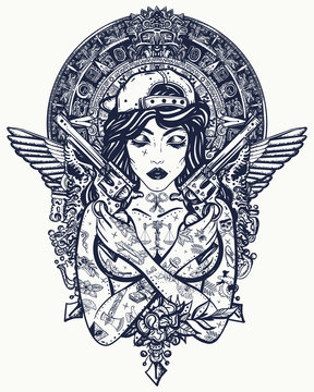 Bad girl, crossed guns, wings and mayan sun. Criminal street culture art. Favela style. Swag. Hip-hop and rap lifestyle. Cool gangster tattooed woman in baseball cap