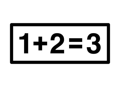 Basic math addition line art vector icon for education apps and websites