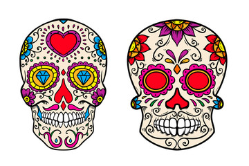 Set of vintage mexican sugar skull isolated on white background. Design element for logo, label, sign, poster.