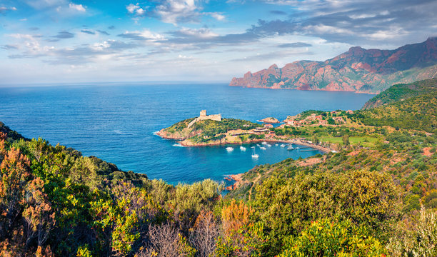 Marvelous morning view of Port de Girolata - place, where you can't get by car. Green sunny scene of Corsica island, France, Europe. Captivating Mediterranean seascape.