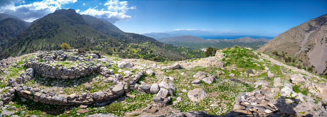 Wall Mural - Minoan site of Azoria on a double peaked hill overlooking the Gulf of Mirabello in eastern Crete, Greece