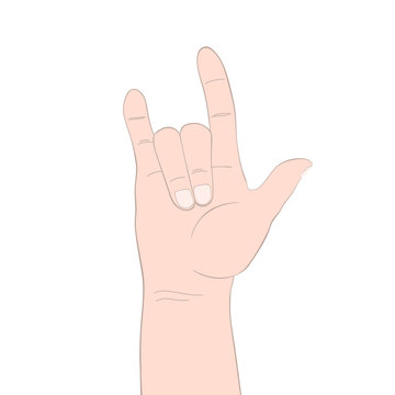 American Sign Language concept vector. Love Sign on white. ASL, i love you sign, hand love, ily hand isolated. Hand gesture illustration.