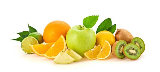 Spoed Foto op Canvas Keuken Fresh green apple, orange fruit, healthy diet concept. Raw mixed vegan juicy fruity background isolated on white. Citrus orange, lemon, apple, kiwi fruit, detox clean eating meal