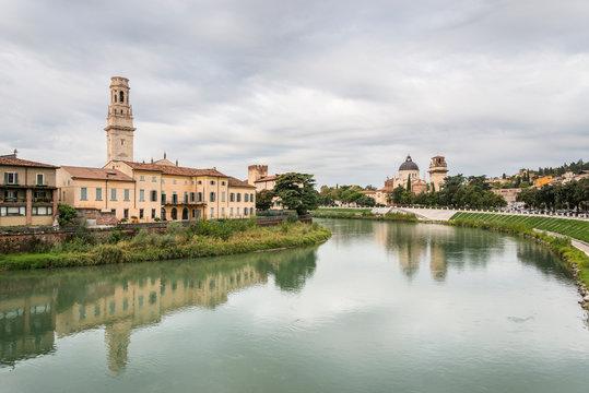 Adige River view from Stone bridge. Verona, Veneto region, Italy.