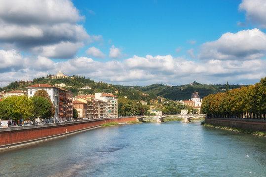 Adige River. Panoramic view of Verona, Veneto region, Italy.