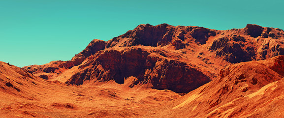 Wall Murals Orange Glow Mars landscape, 3d render of imaginary mars planet terrain, science fiction illustration.